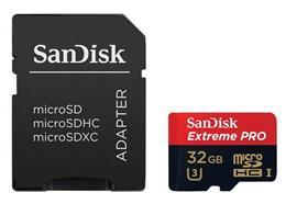 SanDisk Speicherkarte Extreme microSDHC UHS-I, 32GB (mit Adapter)