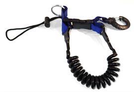 Spiralschnur mit Kunststoff-Karabiner - blau