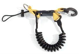 Spiralschnur mit Kunststoff-Karabiner - gelb