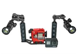 COMPLETE SET: GoPro7 BLACK Isotta Underwater housing + Tray 2x M2500 Videolights