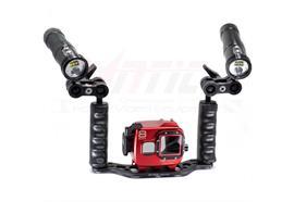 SET: Isotta Gehäuse für GoPro Hero8, 2 X-Adventurer Lampen M2500, Doppelgriff +Befestigung