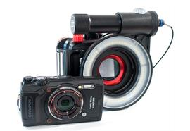 SET: Olympus TG-6 with housing PT-059, X-Adventurer ring flash, Inon macro lens UCL-165
