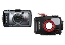 LOCAZIONE:SET Olympus Kompaktkamera TG-2 + UW-Gehäuse PT-053