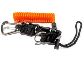 Spiralschnur mit Edelstahl-Karabiner
